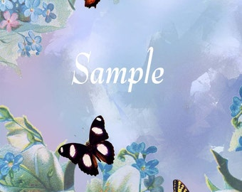 Butterflies and Blues instant download and print card