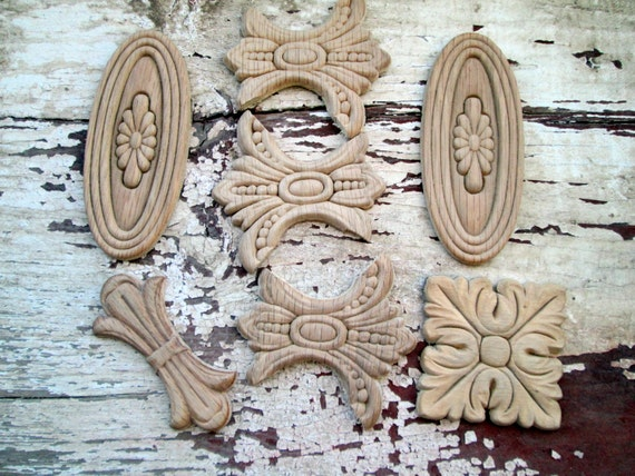 Wood Wooden Furniture Applique Lot Molding Small Floral Pieces