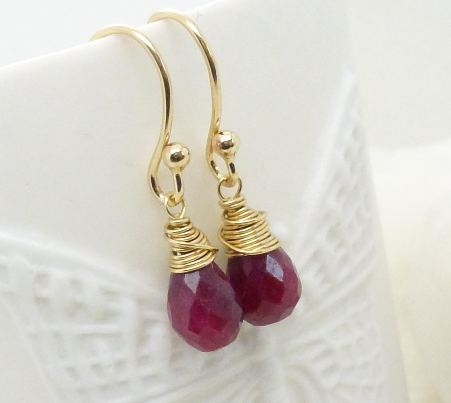 small gold ruby earrings wire wrapped ruby gemstone jewelry