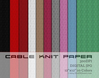 Digital Download- 10 Cable Knit Sweater 12X12 300DPI Digital Papers