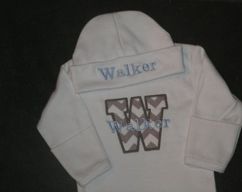 Personalized Newborn Gown and cap set - monogram chevron Initial Coming Home Layette