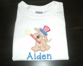 PERSONALIZED Puppy JULY 4th SHIRT or bodysuit Monogram Patriotic