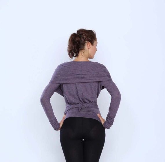 Multi tie long sleeve wrap sweater - Yoga clothes - active wear - dance wear - cardigan