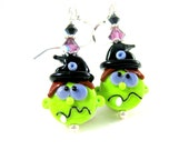 Witch Earrings, Funny Earrings, Halloween Earrings, Green Black Purple Lampwork Earrings Scary Earrings Creepy Earrings - Silly Witch