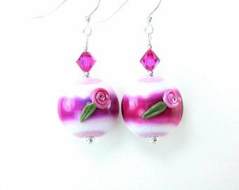 Hot Pink Earrings, Cottage Chic Jewelry, Lampwork Earrings, Floral Earrings, Pink White Glass Earrings, Dangle Earrings - Raspberry Parfait