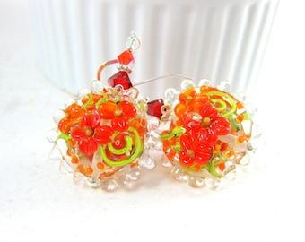 Red & Orange Floral Earrings, Botanical Earrings, Lampwork Earrings, Nature Inspired, Autumn Colors, Flower Jewelry, Glass Earrings - Blaze