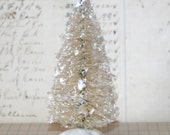 4 inch Vintage Inspired Flocked and Frosted Cream/White Bottle Brush Tree/Decoration