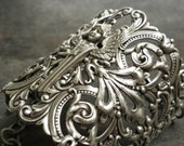 Silver Filigree Bracelet Statement Cuff Art Deco Angel