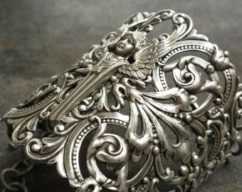 Silver Filigree Bracelet Statement Cuff Art Deco Angel