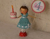 Happy Birthday in Aqua - Clothespin Doll