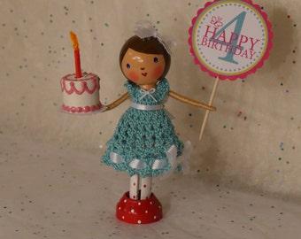 Happy Birthday in Aqua - Clothespin Doll