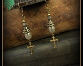 Vintage Glass Pearl and Brass Cross Earrings