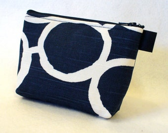 Bridesmaid Gift Navy White Free Hand Fabric Gadget Pouch Cosmetic Bag Zipper Pouch Makeup Bag Cotton Zip Pouch MTO
