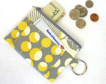 CLEARANCE SALE! Amy Butler Fabric Coin Purse Zipper Coin Purse Wallet Card Slot Key Ring Fob Martini Midwest Modern Mustard Yellow Gray MTO
