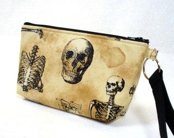 Skeleton Fabric Wristlet Clutch Purse Zipper Pouch Cosmetic Bag Pencil Case Key Ring Fob Skull Anatomy Ribcage Bones