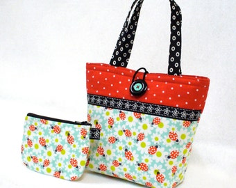 Ladybug Fabric Little Girls Purse Coin Purse Set Mini Tote Bag Childs Purse Kids Bag Michael Miller Red Aqua Daisy MTO