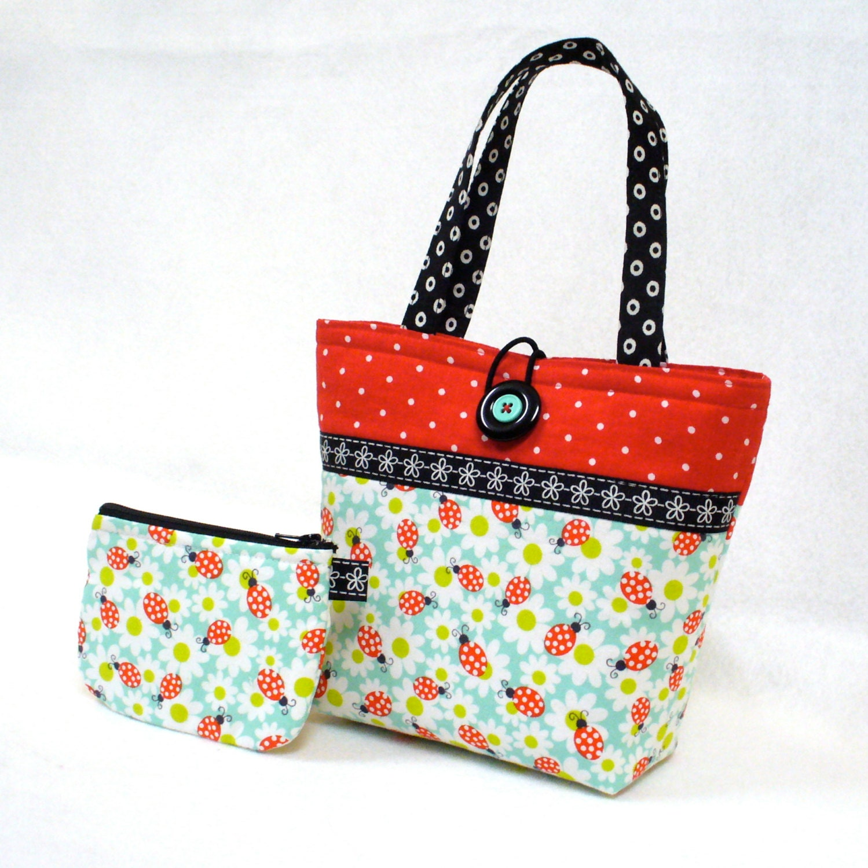 Ladybug Fabric Little Girls Purse Coin Purse Set Mini Tote Bag