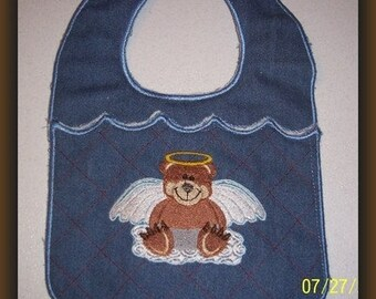 Machine Embroidery Design-ITH-Baby Bib-Teddy Bear Angel for 5x7 or larger hoop.