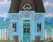 Sea Glass Cottage Folk Art Print