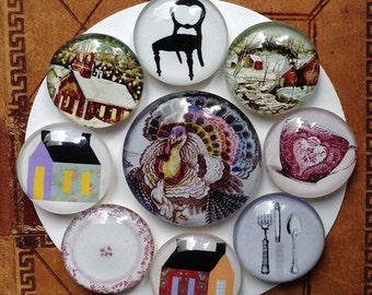 Holiday Hostess Gift Magnets - Glass Magnets - Rare Earth Magnets