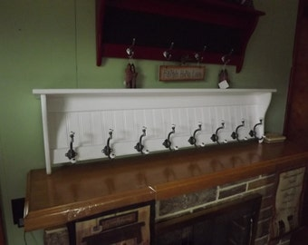 """Wood Coat Rack Wall Shelf 60""""  Pine Wall Rack Painted White with Pewter and Porcelain Hooks"""