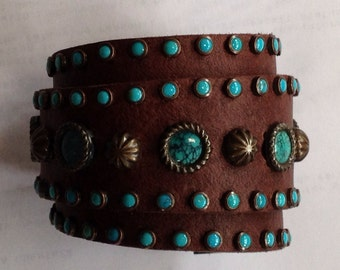 Leather Gunslinger Cuff, Real Turquoise Cabochons with Bronze Studs