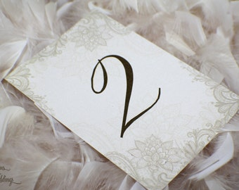 Beautiful Lace Graphics Wedding Table Numbers - (Set of 12)