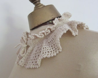 vintage ruffle collar, hand made, 1930s fashion, vintage dressmking, steampunk, lace collar