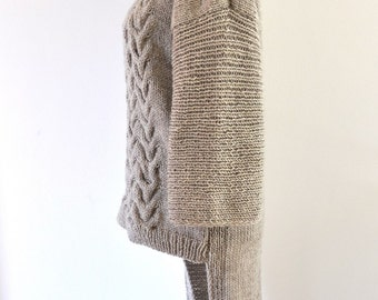 Sweater Cardigan Cowl Sweater Jacket Coat Tunic Chunky Hand Knit Beige Sand Earth Tones MADE TO ORDER