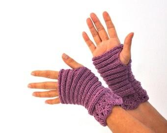 Purple Gloves Fingerless Gloves Mittens Wrist Warmers Lace Gloves