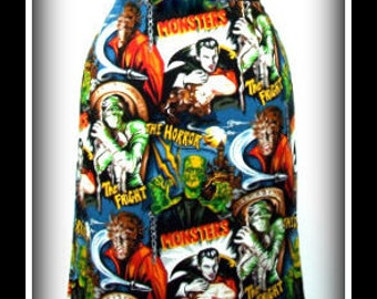 Vintage Monsters Rockabilly Pencil Skirt ...... SizeS,  XL
