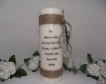 Memory pillar candle Shabby Chic with vintage key