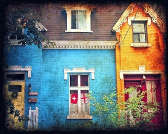 "Colorful quaint Montreal house  turquoise yellow ochre architecture windows  - ""The Blue House"" 8 x 10"
