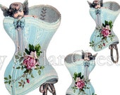 Digital Download Graphic Corset Cherub Pink Cottage Roses Unlimited Use comes with Instructions on how to make Waterslide Decals too! ECS