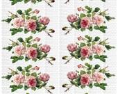 Instant Digital Download Cottage Cabbage Pink Roses Flowers Swag Vintage Era Transparent Background PNG - U Print ECS