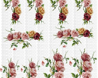 Instant Digital Download Cottage Cabbage Pink Roses Flowers Yellow Red Roses Swag Vintage Era Transparent Background PNG - U Print ECS