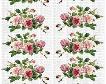 Instant Digital Download Cottage Cabbage Pink Roses Flowers Swag Vintage Era Transparent Background PNG - U Print ECS