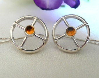 Silver Nautical Earrings with Citrine