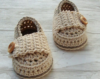 Baby shoes, crochet booties little loafers sand and taupe size 3/6 months with gift box ready to ship