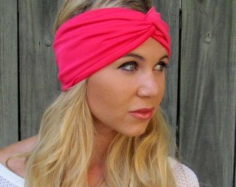 Twist Turban Headband Hot Pink Head Wrap Lycra Jersey Turband Stretch Wide Double Layer Womens Hair Accessory or Choose Your Color
