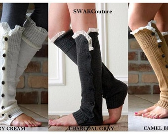 Leg Warmers Black Slouchy Button Down Crochet Lace Wooden Buttons Boot Topper Womens Lounge Socks Stocking Stuffer Choose Color