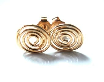 Gold Spiral or Coil Earrings 14k Gold Filled Earrings with Posts