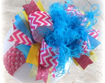 Over the Top Hairbow, OTT Hair Bow, Chevron Over the Top, Pink Hair Bow, Large hairbow, Boutique Girls Hairbows, Big Boutique Headband,