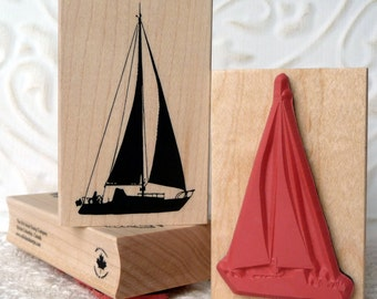 Silhouette Sailboat rubber stamp from oldislandstamps