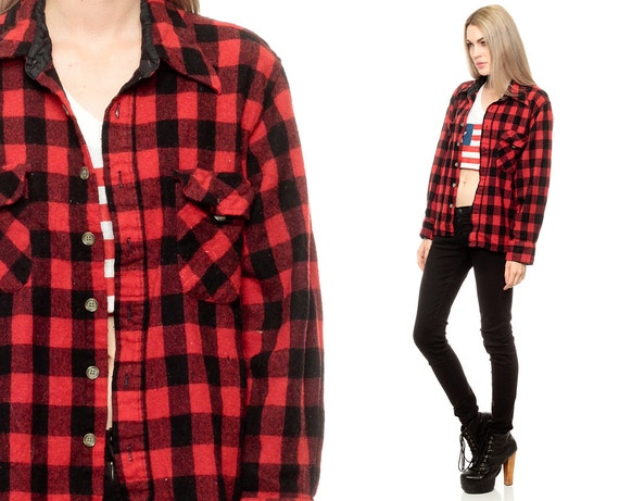 Buffalo plaid shirt 90s flannel grunge red long sleeve button for Red buffalo flannel shirt