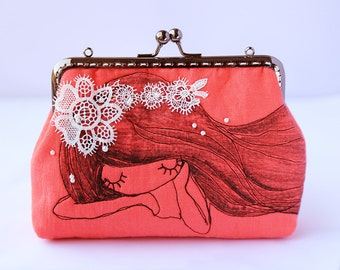 Free Motion Embroidery Sleepy Girl Wallet