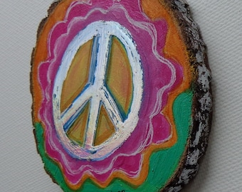 Magnet Handpainted Tree Slice Magnet 3inches 2 Earth Magnets on back Heather Montgomery Art