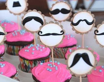 Mustache Bash - Cupcake Toppers