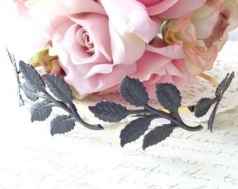 Leaf Branch Headband - Black Satin Leaf - Gold Headband - Bridal Crown - Leaf Spray - Woodland Collection - Whimsical - Nature - Bridal