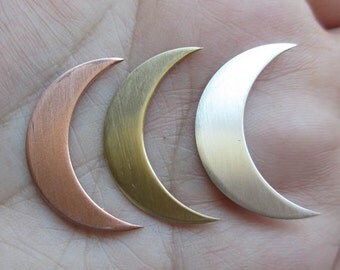 "Sterling Silver,Copper or Brass Thin Moon Stamping (1 quantity of 1"" size )(22 gauge) You Choose Which One"